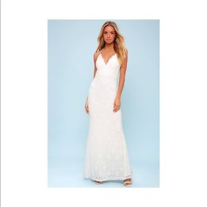 Lulu's Alice White Lace Backless Maxi Dress